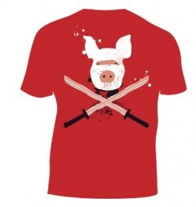 Image of t-shirt with bacon swords.