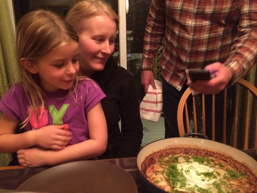 My niece Kali and sister Shawna patiently wait to try Chef Allemeier's tartiflette