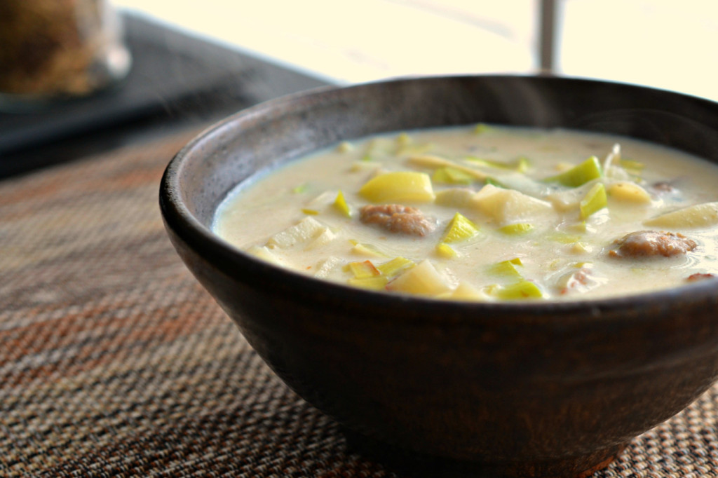 cream of sausage and leek soup