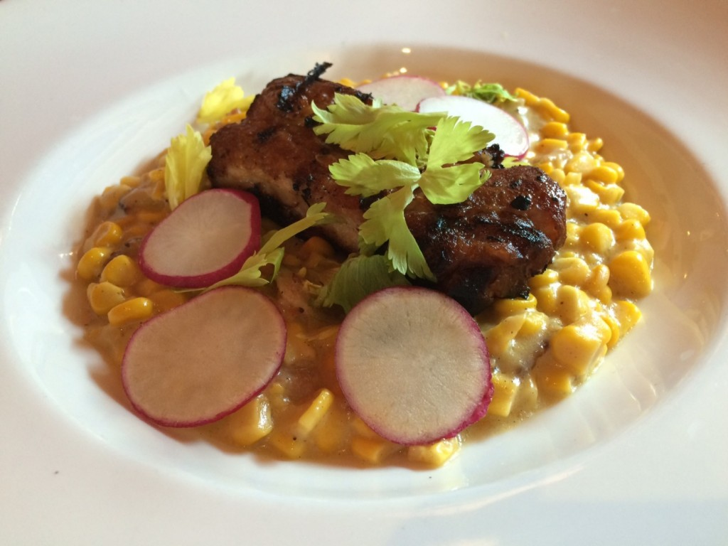 Chef Cowan's braised bacon with bacon cream corn at Packrat Louie