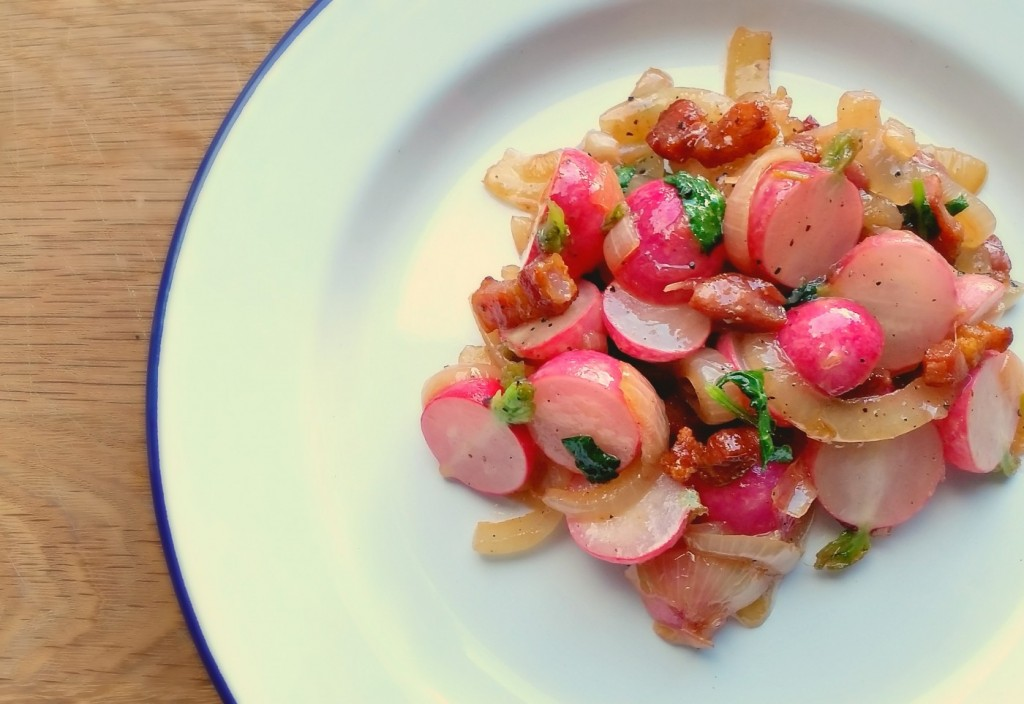 cooked radishes and bacon recipe