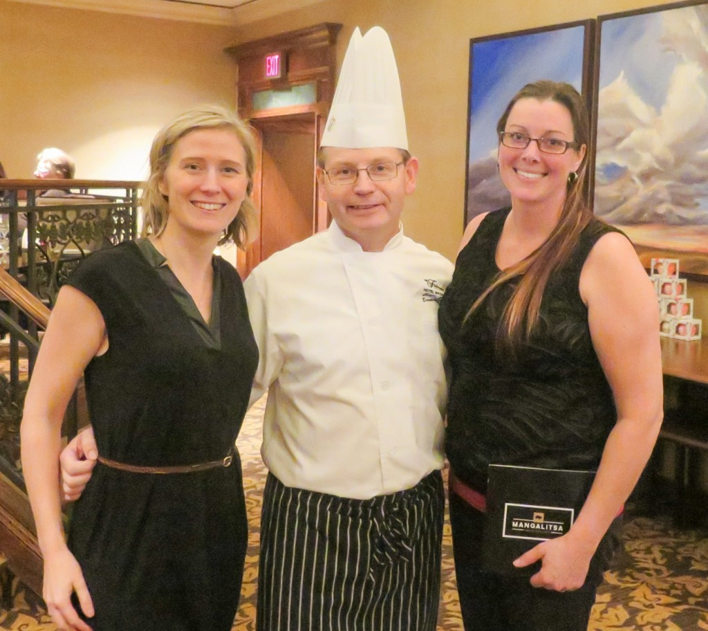YEG Passion for Pork blogger Sharman, Chef Serge Jost, and Malorie Aube of Country Accent