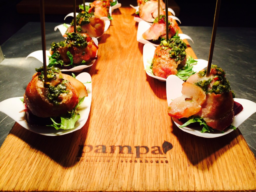 Pampa Brazilian Steakhouse's chicken wrapped in natural smoked bacon