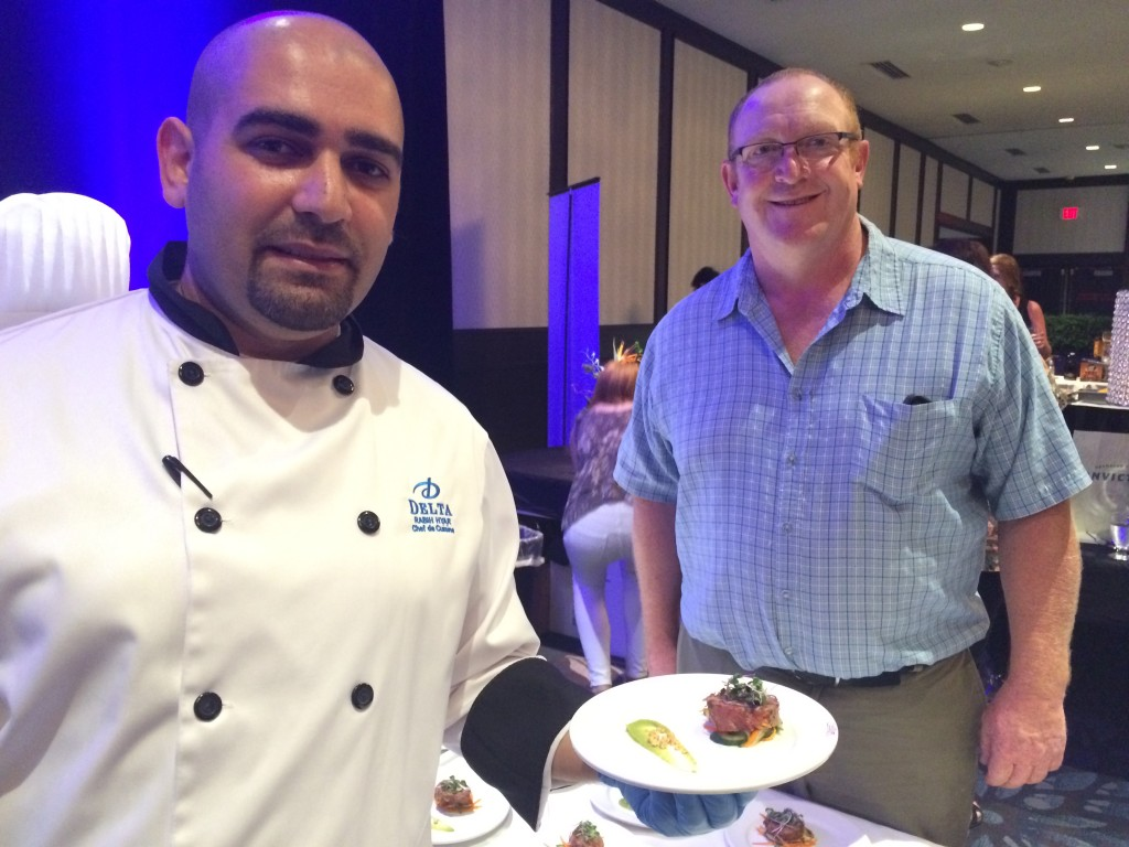 Chef De Cuisine Rabih Hyar, Delta Edmonton South Hotel and Conference Centre shows off his Indulgence Edmonton 2016 dish with producer Alan Irving of Irvings Farm Fresh