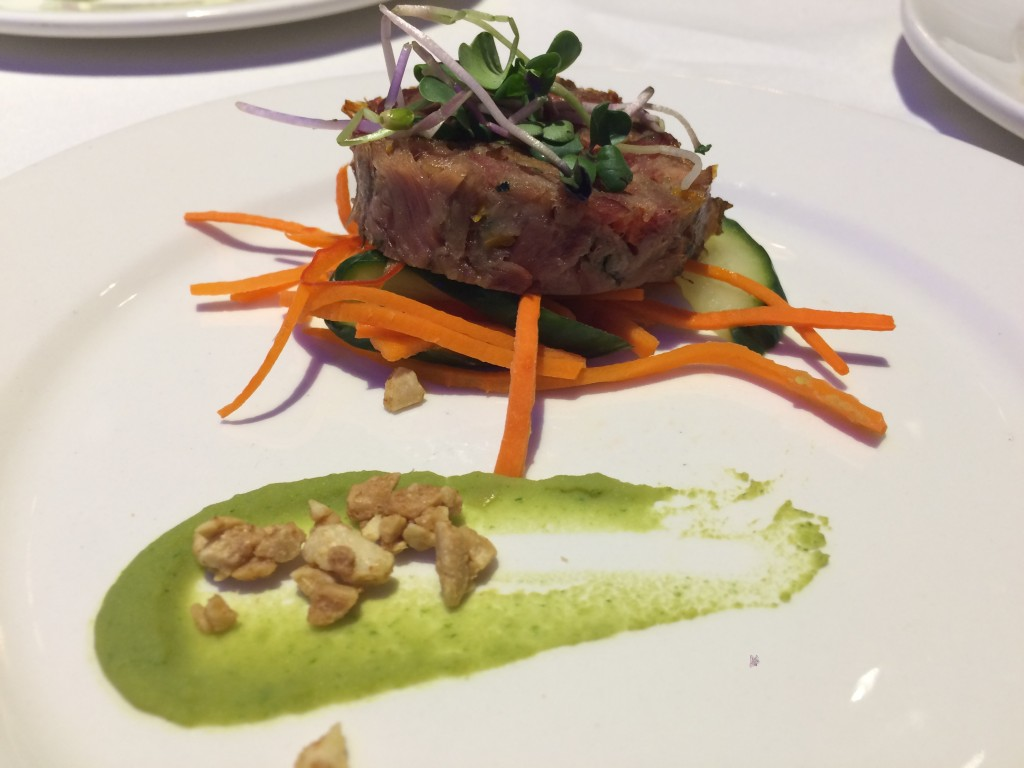 Smoked ham hock with pickled cucumber salad