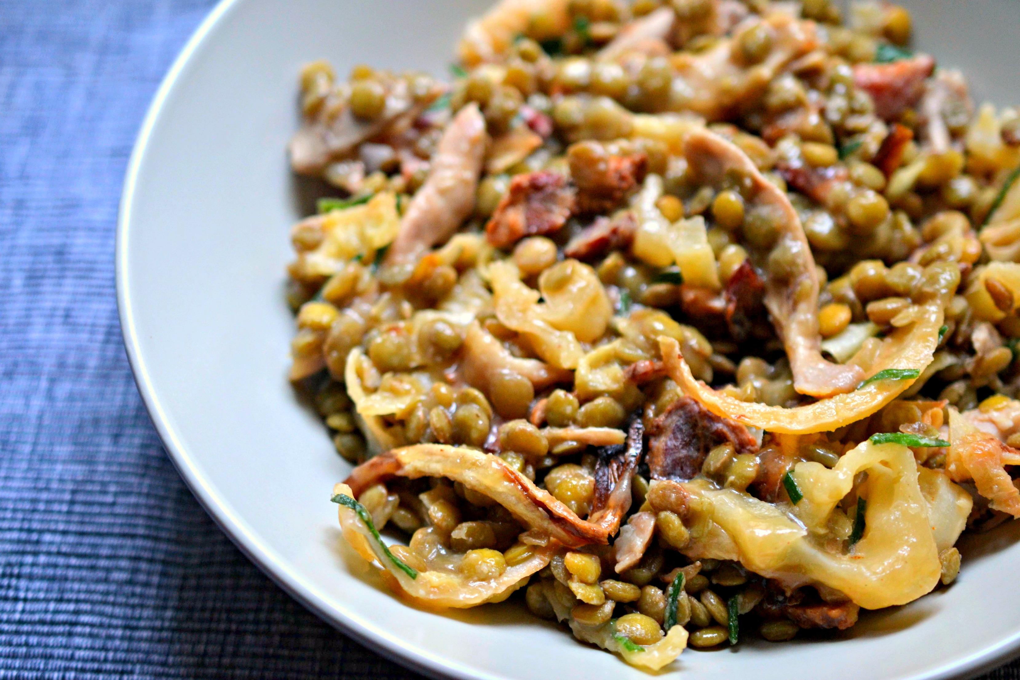 Pork shoulder, lentil and charred cabbage salad